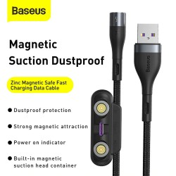 Baseus Zinc Magnetic Safe Fast Charging Cable USB to Type-C + Lightning + Micro 5A