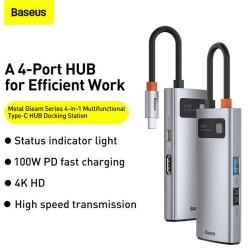 Baseus Metal Gleam Series 4 in 1 Multifunctional Type-C HUB Docking Station CAHUB-CY0G